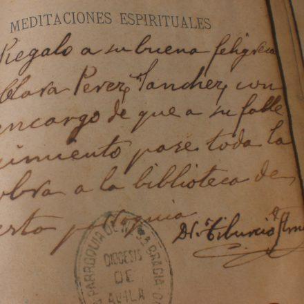 Dedicación de un libro espiritual que se conserva en Poyales del Hoyo